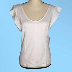 Free People Painted White ruffle sleeve top